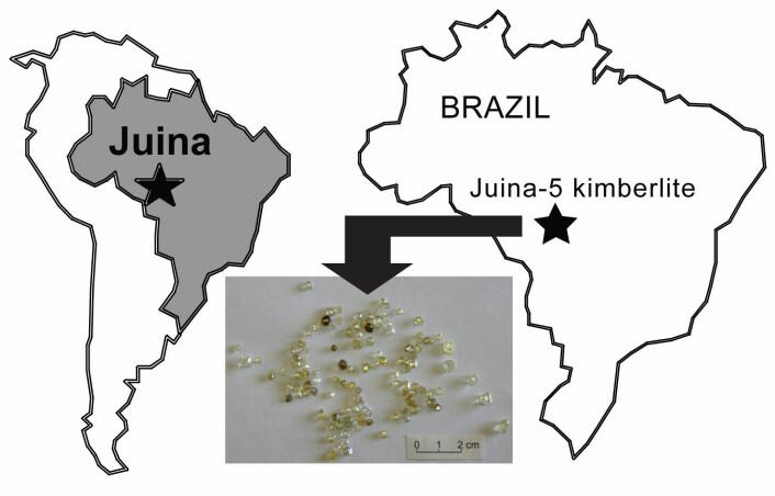 Figuren viser hvor Juina ligger i Brasil. Det innfelte bildet av diamantene viser hvor små de er. Flere tusen har blitt undersøkt for å finne noen med inneslutninger. (Foto: Science/AAAS)