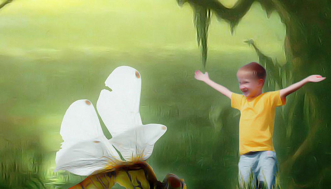 """Øyenstikkeren Meganeuropsis levde i er det største kjente insekt. Det levde i begynnelsen av permtiden, for 300 millioner år siden. Vingespennet var på opptil 70 cm. Her med et barn for sammenligningens skyld. (Montasje: Per Byhring / <a href=""""http://commons.wikimedia.org/wiki/File:Beard,_William_Holbrook_~_Phantom_Crane,_1891,_oil_on_canvas.jpg""""> William Holbrook </a>/ Colourbox)"""