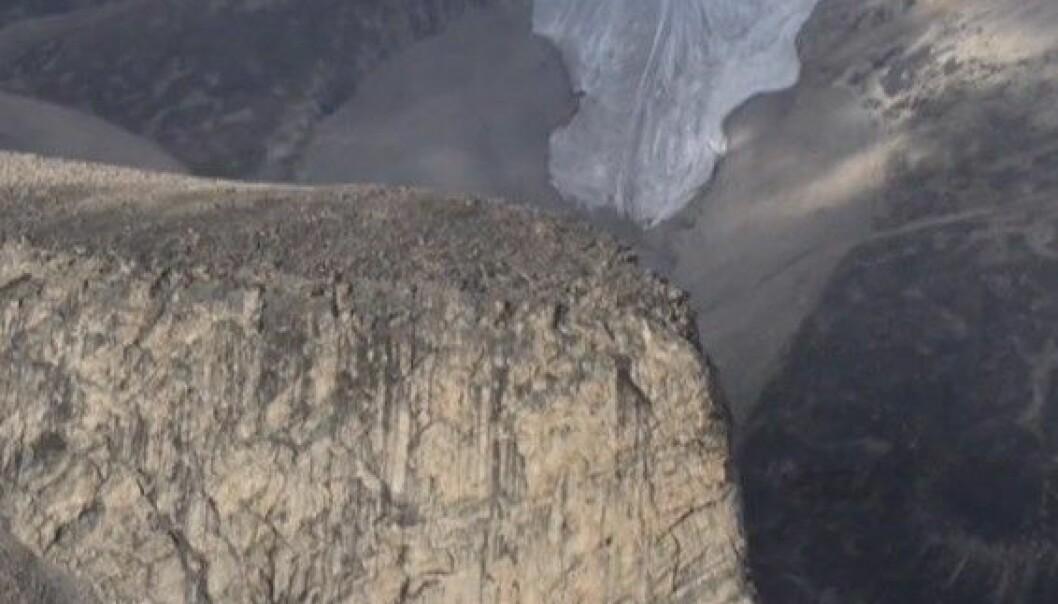På Baffin island i Canada avdekker smeltande is plantar som har vore under isen i opptil 44.000 år. INSTAAR/ YouTube