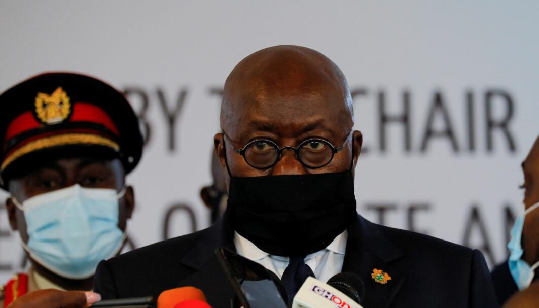 Nana Akufo-Addo, Ghanas president, takket det internasjonale vaksineprogrammet Covax for at Ghana fikk være først i vaksinekøen. Bildet er fra september 2020.