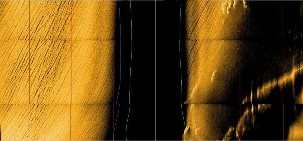 Sonarbilde fra Kongsberg Maritimes autonome undervannsfarkost «Hugin» fra 300 meters dyp i Ytre Oslofjord. Sporene er laget av tråldørene, og den svarte skyggen i midten er sonarens «blindsone».