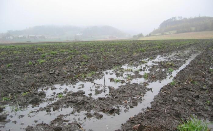 Mye regn fører til bløte jorder som lett pakker seg, noe som kan bety økt klimagassutslipp.