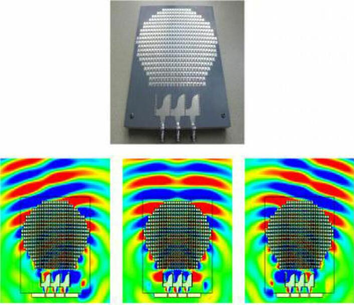 Øverst: Den flate Luneburger-antenna. Nederst: Simulering av radarbølger med radarsenderen plassert til høyre, i midten og til venstre under antenna. (Figur/foto: T.J. Cui/Southeast University Nanjing)