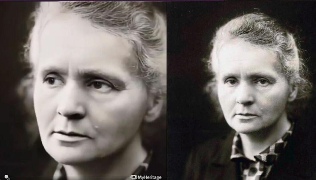Vitenskapskvinnen Marie Curie er en av dem som har fått sitt portrett animert.