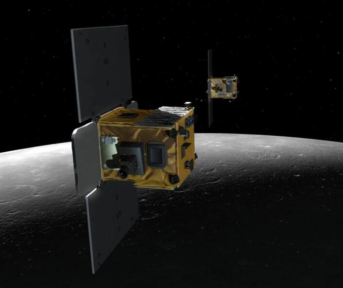 De to GRAIL-sondene Ebb og Flow går nå i baner som tar dem helt ned mot 8 kilometer over de høyeste månefjellene. Den første runden med observasjoner fant sted våren 2012. De siste observasjonene ble avsluttet i begynnelsen av desember 2012. Til slutt vil de to sondene krasje i månen. (Foto: (Illustrasjon: NASA/JPL-Caltech/MIT))