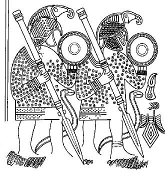 På hjelmen i den ene båtgraven var det festet et metallblikk med denne illustrasjonen av krigere med rovfugler på hjelmene.