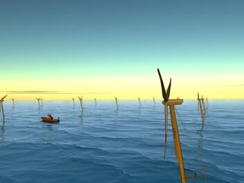 """""""Offshore vindpark: Store vindparker i Nordsjøen kan spare oss for utslipp av omkring 18 millioner tonn CO2 per år gjennom å erstatte kullkraft på kontinentet og gassturbiner på norsk sokkel. (Illustrasjon: SWAY)"""""""