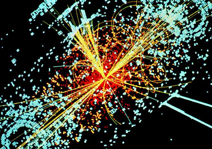 Simulert datamodell av partikkelkollisjon som lager blant annet Higgs-boson. (Foto: (Bilde: Lucas Taylor, CERN))