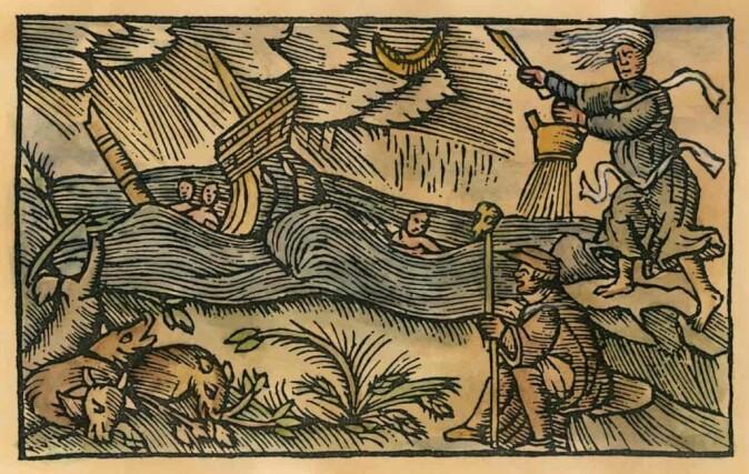 Ei trollkvinne kaster heksegrytens innhold på havet og forårsaker uvær, skipsforlis og død. – Mange europeiske hekser ble anklaget for å ha drevet med ondskapsfull værmagi, sier historiker Rune Blix Hagen. De orginale tegningene i boka var uten farger, men noen er fargesatt i etterkant.