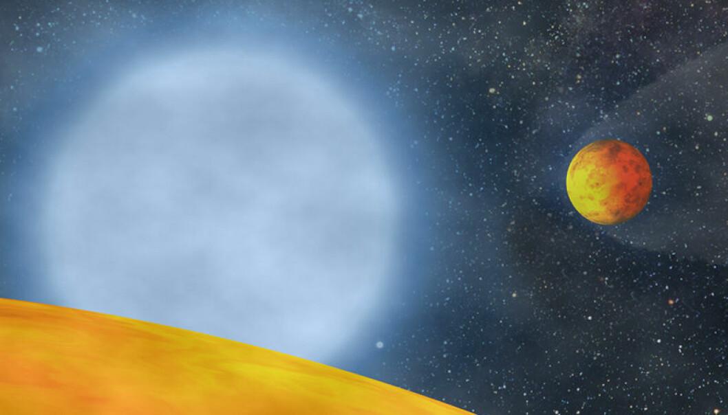Hete planeter som kretser rundt den blekhvite kjernen av en utbrent rød kjempestjerne (Figur: S. Charpinet)