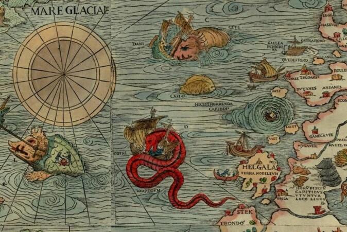 I Carta Marina vises den fryktede Moskenesstrømmen i Lofoten, som plutselig åpnet seg og slukte skip med mann og mus.