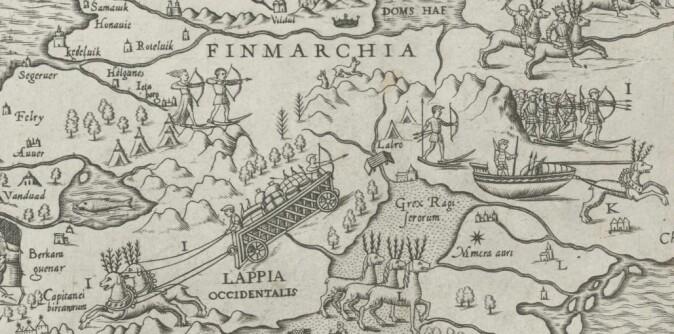 Folk og natur i Nordkalotten slik Olaus Magnus illustrerer det i Carta Marina.