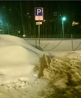 Denne handicap-parkeringen er den eneste parkeringen i området som har ikke blitt måkt for snø hele vinteren, kommenterer professor Siri Eriksen.