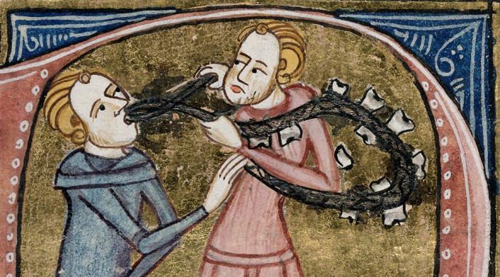 Tannuttrekning i middelalderen. (Foto: (Tegning: James le Palmer, London 1360-1375))