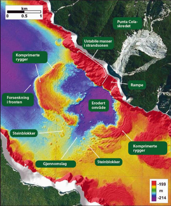 Her er Aysén-fjorden sør i Chile. Illustrasjonen viser blant annet enorme deformasjoner på fjordbunnen. (Foto: (Illustrasjon: NGU))