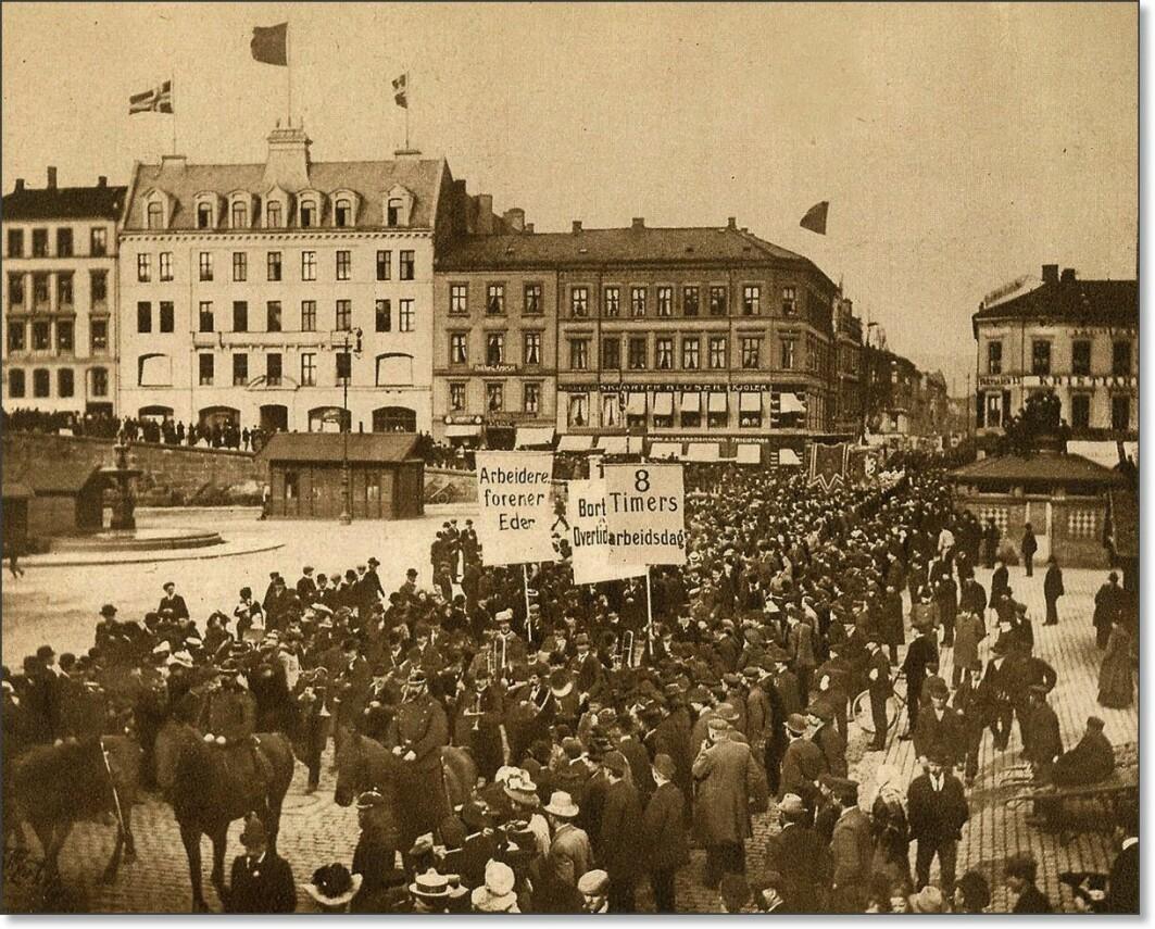 Mange fryktet borgerkrig i Norge. Bildet er fra Youngstorget i Oslo.