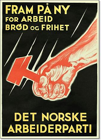 Arbeiderpartiet sa i 1923 farvel til kommunismen og ble et sosialdemokratisk parti. Men symbolikken i denne valgplakaten fra 1934 er likevel klart påvirket av sovjetkommunismen.