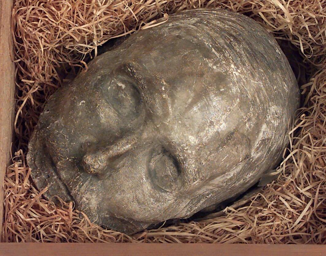 Dikter Henrik Wergelands dødsmaske finner du på Norsk Folkemuseum.