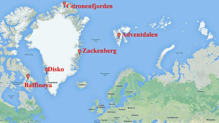 Studien er basert fra prøver fra ulike steder i Arktis. (Foto: (Kart: Google Maps/tilpasset forskning.no))