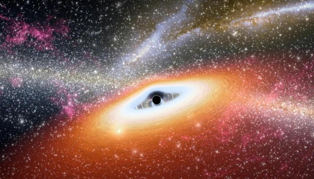 En kunstners fremstilling av en stjernerik galakse med et ungt supermassivt svart hull.