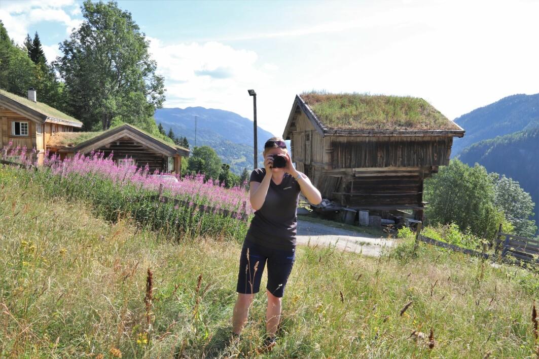 Forskar Ulrike Bayr på feltarbeid i Hjartdal, Vestfold og Telemark.