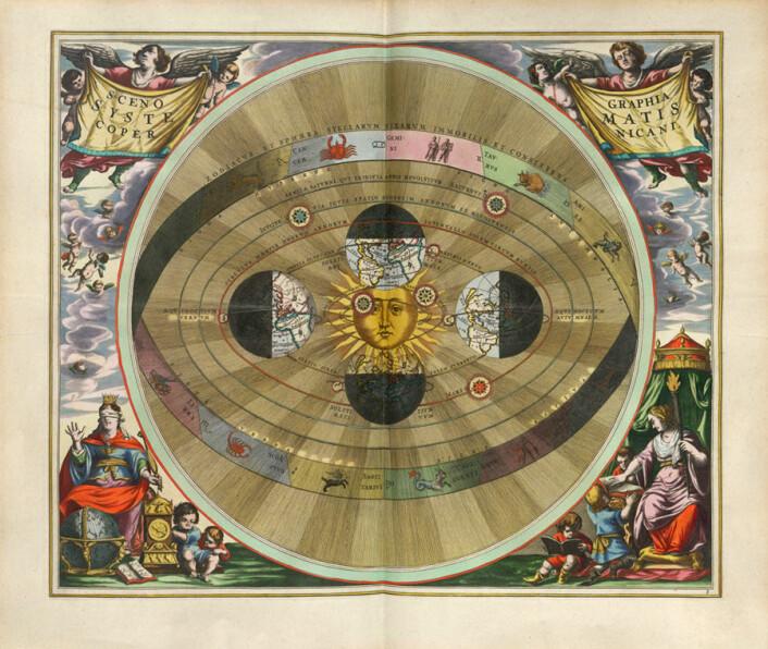 Astronomen Johannes Kepler framsatte i 1609 teorien om at alle planetene i solsystemet beveger seg rundt solen. (Illustrasjon: Public domain)