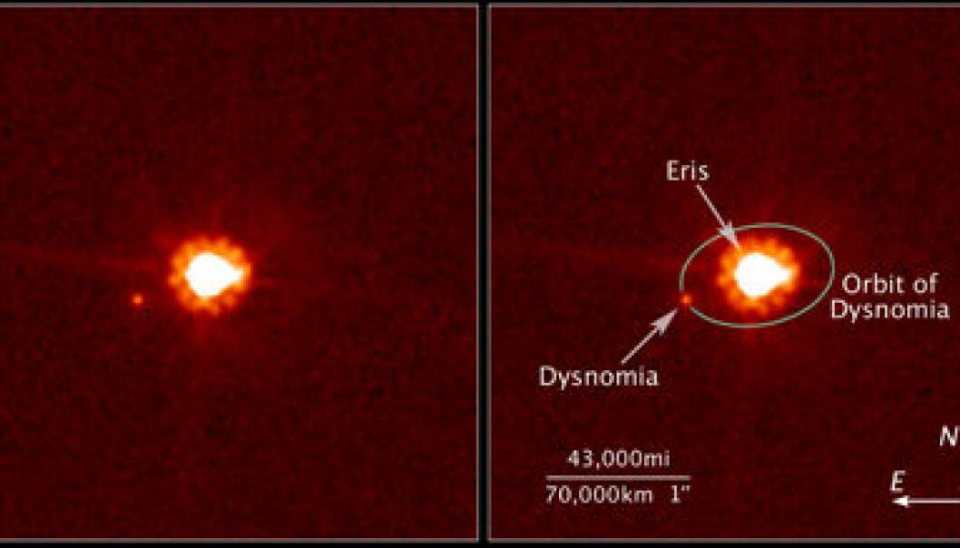 """""""Bildet til venstre vise dvergplaneten Eris og månen Dysnomia, fotograftert av NASAs Hubble Space Telescope 30. august 2006. Bildet til høyre illustrerer banen Dysnomia har hatt rundt Eris. Bilder av Dysnomias 16 dager lange rundtur rundt Eris er brukt for å regne ut dvergplanetens masse. Foto: NASA, ESA, og M. Brown, California Institute of Technology."""""""