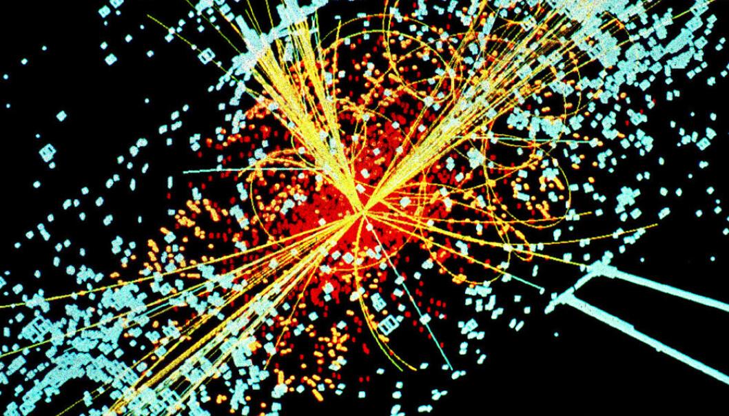 Simulert datamodell av partikkelkollisjon som lager blant annet Higgs-boson Lucas Taylor, CERN