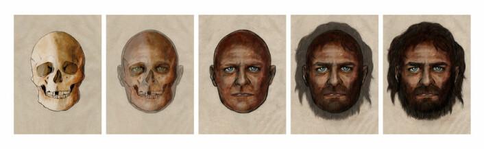 Slik har kunstneren rekonstruert den 7000 år gamle mannen. (Foto: (Illustrasjon: PELOPANTON / CSIC))