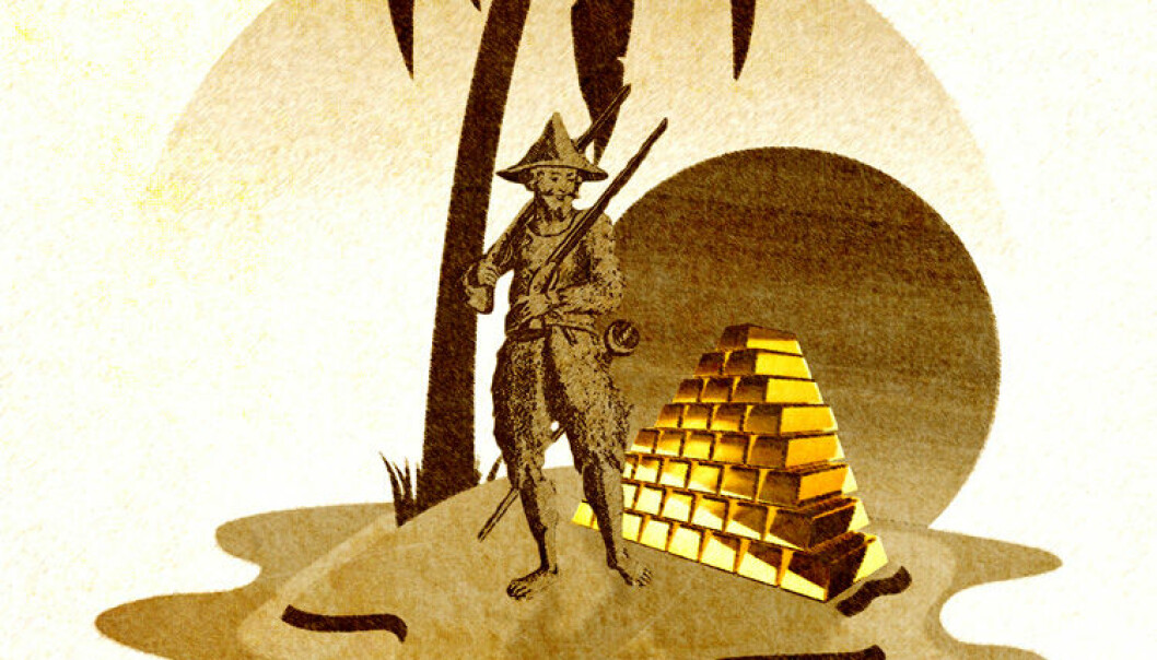 """Selv om Robinson Crusoe fant en hel haug med gull på øya si, og ble """"rik"""", ville ikke det hjelpe ham når det ikke blir flere til å utføre arbeidet han kunne tenke seg å betale for. (Montasje: Colourbox/Wikimedia)"""