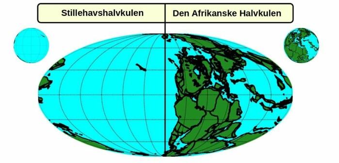 Illustrasjonen viser kontinentenes posisjon for 250 millioner år siden med superkontinentet Pangea på Den afrikanske halvkulen.