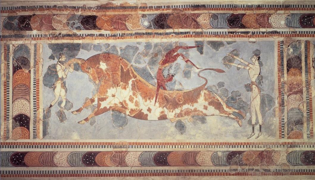 "Freskomaleri fra Knossos. <a href=""http://no.wikipedia.org/wiki/Fil:Knossos_bull.jpg"">Wikimedia commons</a>"