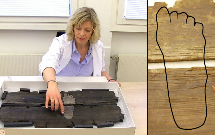 Hanne Lovise Aannestad viser frem planken fra Gokstadskipet. Omrisset av foten er her tydeliggjort. (Foto: Per Byhring / Hanne Jakobsen)