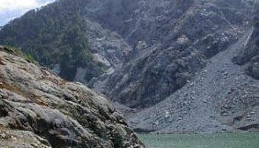 Denne fjellknausen er 70 meter høy og var dekket av vegetasjon før skredet og flodbølgen i 2007. Nå er den spylt ren. Reginald Hermanns/NGU
