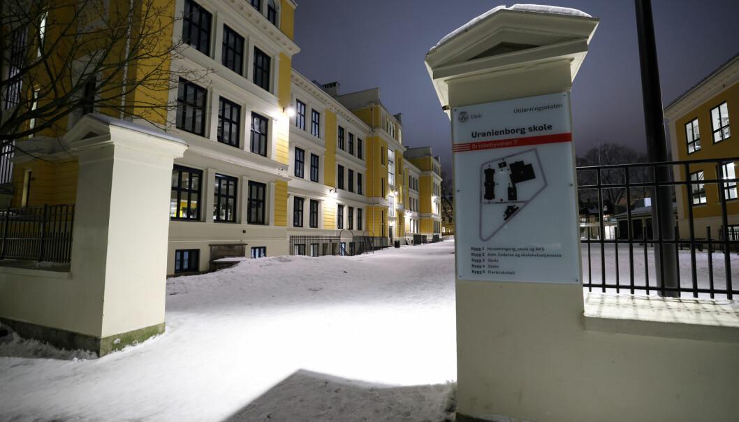 Uranienborg ungdomsskole i Oslo er en av mange som er stengt etter byrådets siste innstramminger.