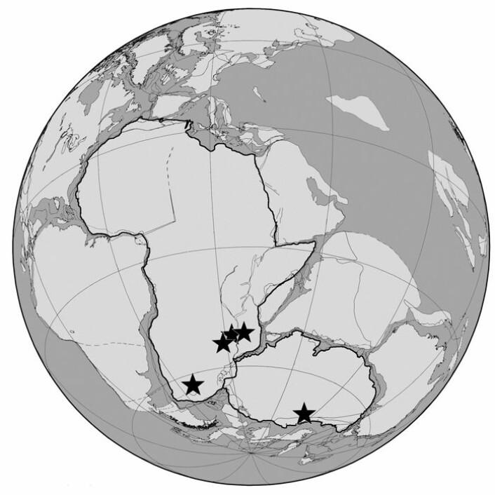På superkontinentet Pangea var Afrika og Antarktis nære naboer. Studien er basert på funn av fossiler fra dagens Sør-Afrika, Zambia, Malawi, Tanzania og Antarktis. (Foto: (Illustrasjon: U of Texas at Austin/U of Washington))
