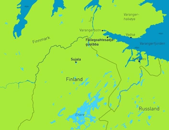 Kartet viser funnsteder i det nordlige Finland og Øst-Finnmark. (Foto: (Kart: David Brabrand/forskning.no))