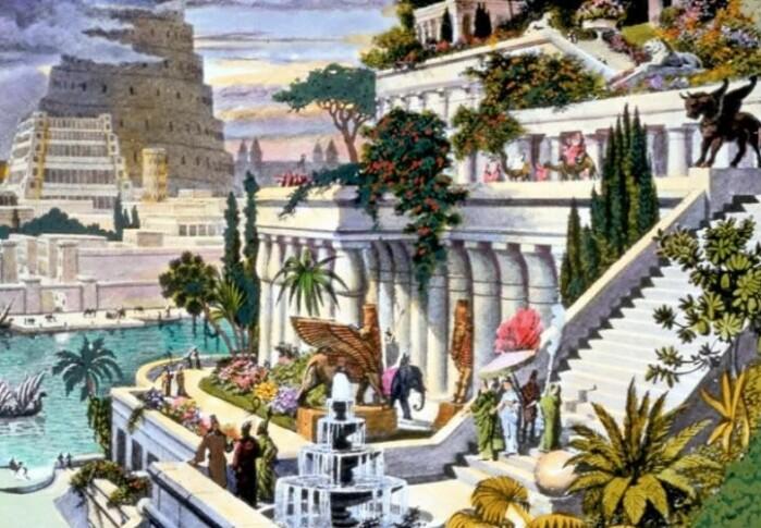 Babylons hengende hager, her fra en illustrasjon fra midten av 1900-tallet.