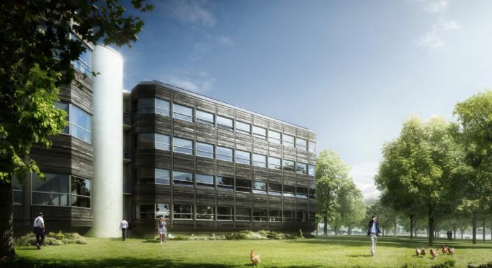 Illustrasjon av Powerhouse Kjørbo i Sandvika, Bærum. I mars 2013 satte man i gang med å rehabilitere to eksisterende kontorbygninger til nullutslippsnivå. (Foto: (Illustrasjon: Snøhetta/MIR))