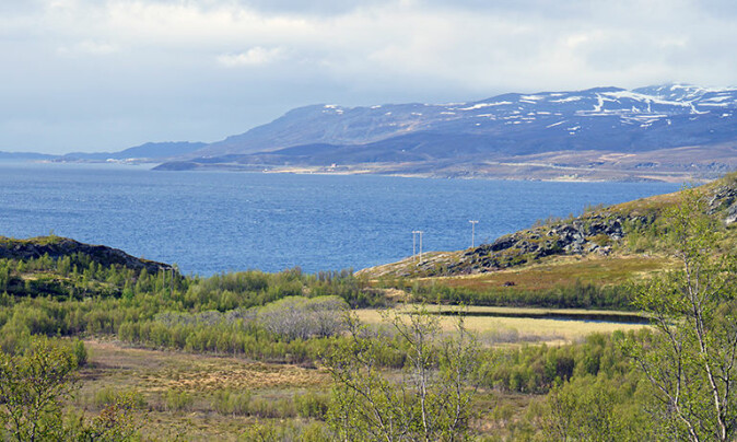 One of the lakes where the researchers found the fish bones is Klubbvatnet to the right in the picture, 33 meters above sea level at Neverfjord in Hammerfest municipality. Altafjorden and Kvaløya in the background.