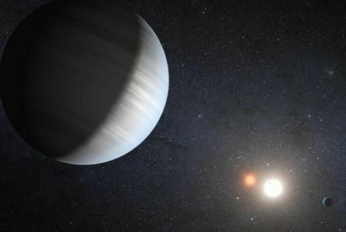 Oppdagelsen av Kepler-47 viser at dobbeltstjerner kan ha hele planetsystemer. (Foto: NASA/JPL-Caltech/T.Pyle)