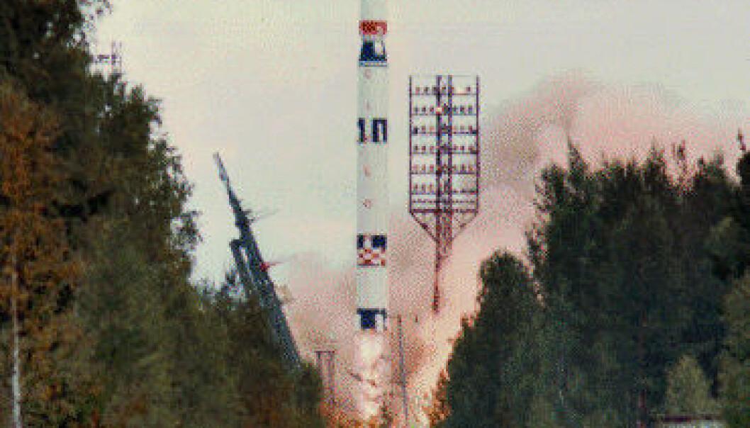Ukarinsk Tsyklon-3-rakett skytes opp fra Plesetsk romhavn, 15. august 1991. NASA