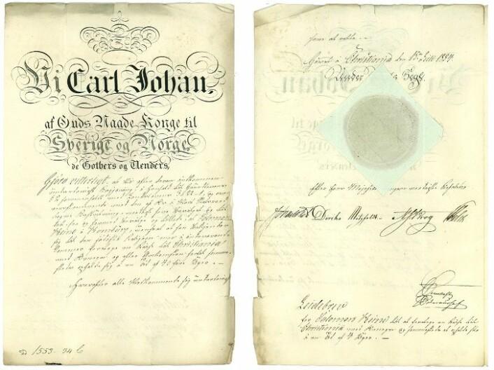 Dette leidebrevet gikk fra Finansdepartementet til Justisdepartementet, for at jøden Salomon Heine i Hamburg, skulle kunne komme til Christiania. (Foto: (Illustrasjon: Stortinget))