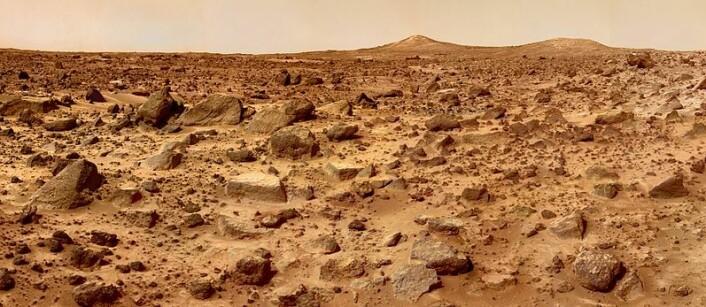 Under den blekrøde ørkenen på Mars kan det også ligge lommer av vann, der liv har overlevd i milliarder av år, mener forskerne bak Nature-studien. (Foto: NASA/JPL)