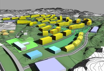 Også større prosjekter for vanlige bolighus er i gang. 500-800 miljøvennlige boligenheter planlegges på Ådland ved Blomsterdalen i Bergen, her sikter man mo nulltuslippsnivå i driftsfasen. Prosjektet er fortsatt på planleggingsstadiet. (Foto: (Illustrasjon: Norconsult))