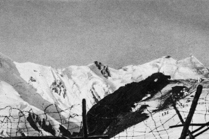 Frontlinja sett fra Punta Linke i 1918. (Foto: Museo della Grande Guerra, Peio)