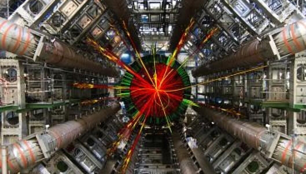 Partikkelkollisjonar kan i teorien føde ørsmå svarte hol. Biletet viser ei såkalla 'svart hol'-hending målt av ATLAS-detektoren ved CERN. ATLAS Experiment/CERN
