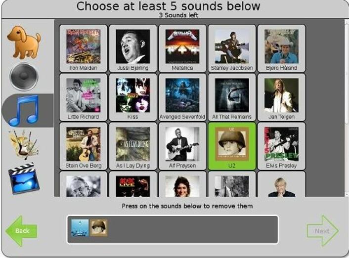 Å velge en serie lydspor kan også brukes til innlogging. (Foto: (Bilde: NR))