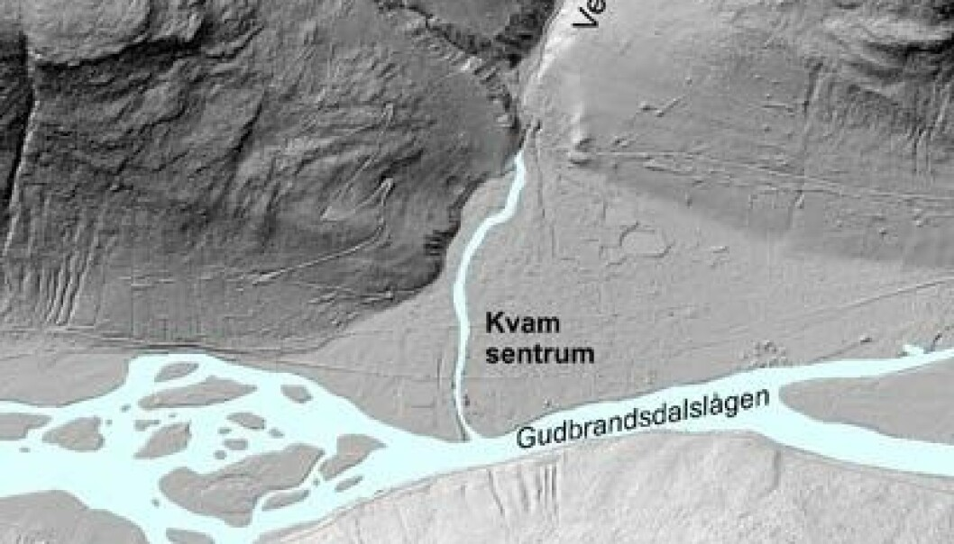 Figur 1 syner korleis Kvam-vifta ser ut i skuggelagte laserdata (målestokk 1:15.000), og korleis denne geologiske formasjonen skiljer seg ut frå terrenget rundt. NGU/Kartverket
