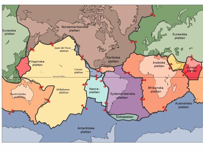 De store kontinentalplatene er Afrika, Australia, Nord-Amerika, Sør-Amerika, Arabia, India og Eurasia. Det finnes også mindre plater. Under Stillehavet ligger den enorme Stillehavsplaten. Navnene står her på svensk.